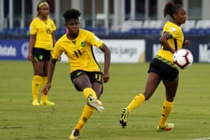 Khadija Shaw plays a pass during Jamaica's game against Cuba in the Concacaf Women's Championship last year