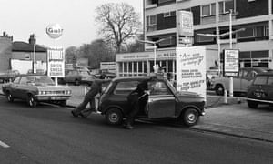 Cars queuing at a filling station in London during the 1973 fuel crisis.