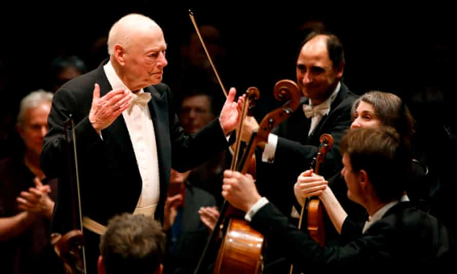 Conductor Bernard Haitink conducts the London Symphony Orchestra at the Barbican in London on 10 March. 2019.