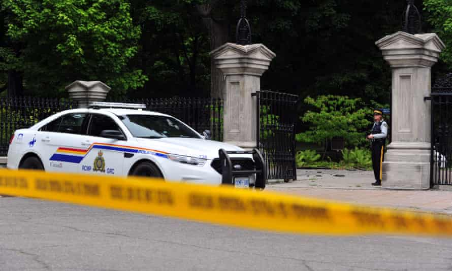 Canadian police stand guard outside Rideau Hall in Ottawa