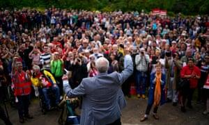 Jeremy Corbyn addresses a crowd on Merseyside in May.