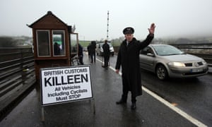 A mock customs post in Co Louth set up to highlight concerns about a return to a hard border in Ireland.