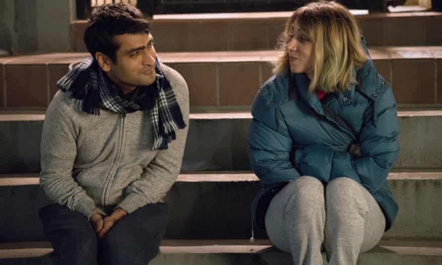 Nanjiani with Zoe Kazan as Emily in The Big Sick.