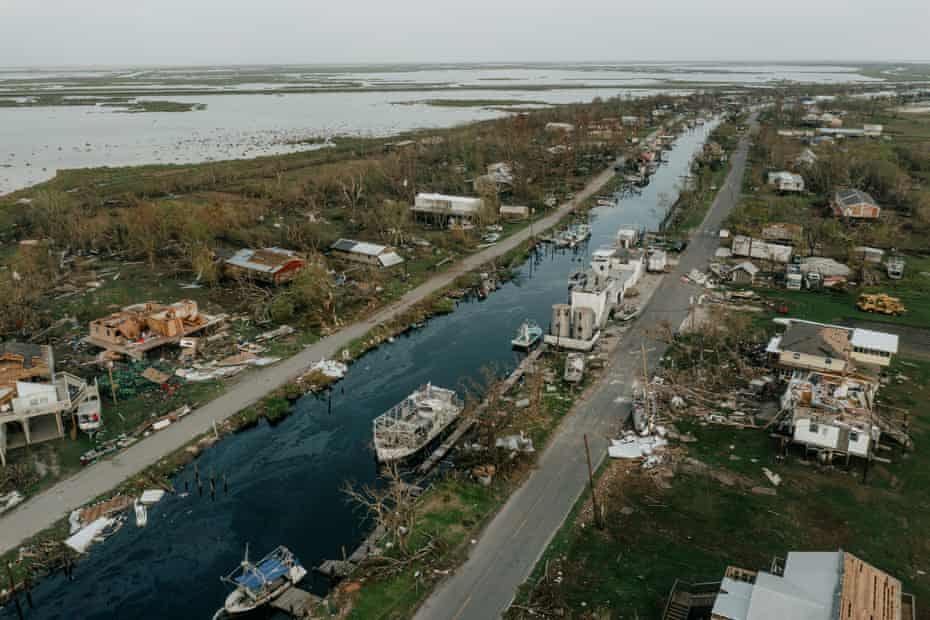damage in Point-aux-Chenes, Louisiana, in an overhead shot of the area