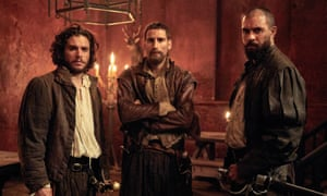 Kit Harington as Robert Catesby, Edward Holcroft as Thomas Wintour and Tom Cullen as Guy Fawkes in Gunpowder.