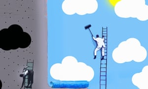 """Workmen pasting contrasting optimistic and pessimistic billboard posters"""