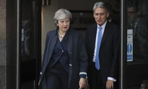 Theresa May and Phillip Hammond leave the Midland Hotel at the start of day two of the Conservative conference this morning.