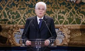 Italy's president, Sergio Mattarella