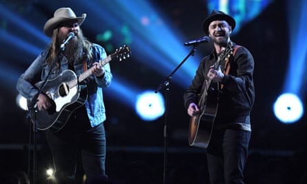 'Hup!' … Justin Timberlake, right, performing with Chris Stapleton at the 2018 Brit awards.