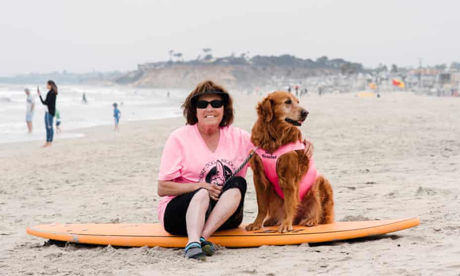 Judy Fridono and her dog Ricochet, who has taken part in about 20 surf contests
