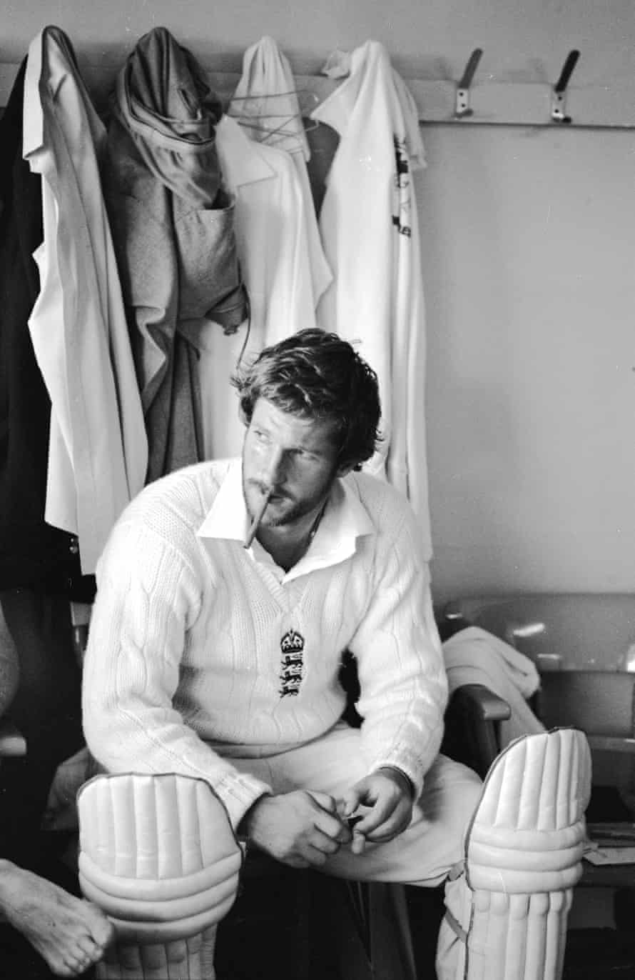 Ian Botham of England smokes a cigar in the changing room after his match-winning 149 not out during the third Test Match against Australia at Headingley in Leeds. on 20 July 1981. England won the match by 18 runs.