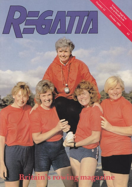 A reunion of members of St George's Ladies rowing club as shown on the cover of Regatta magazine in 1988. Di Ellis is being held aloft.