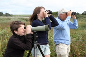 A family birdwatching