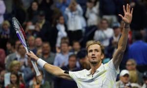 Daniil Medvedev of Russia celebrates his victory against Grigor Dimitrov.