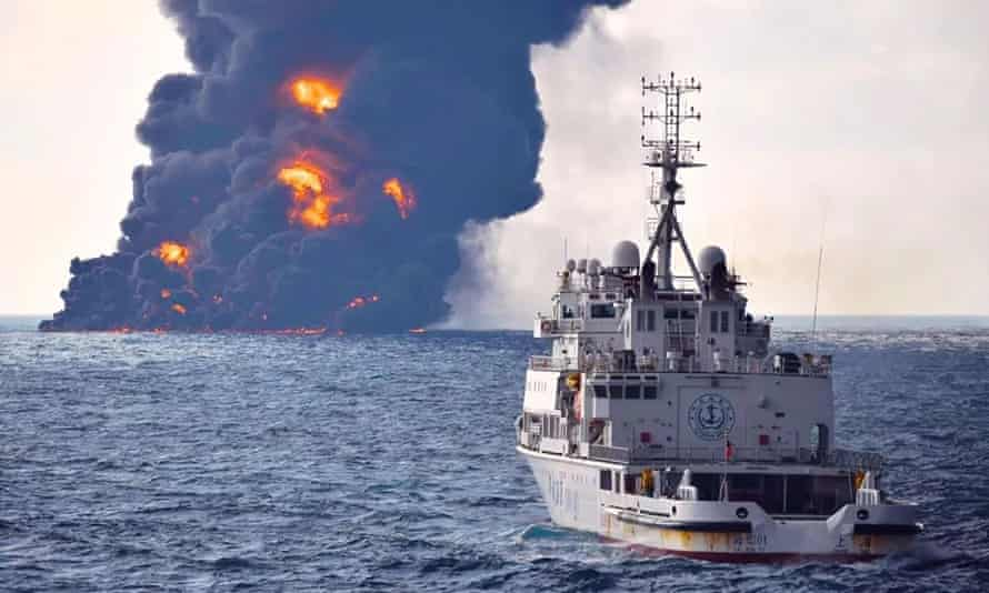 Smoke and flames coming from the oil tanker the Sanchi at sea off the coast of China.