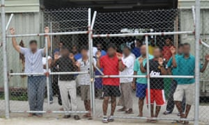 Asylum seekers in Delta compound on Manus Island.