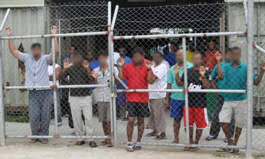 Asylum seekers housed in the Manus Island detention centre in Papua New Guinea.