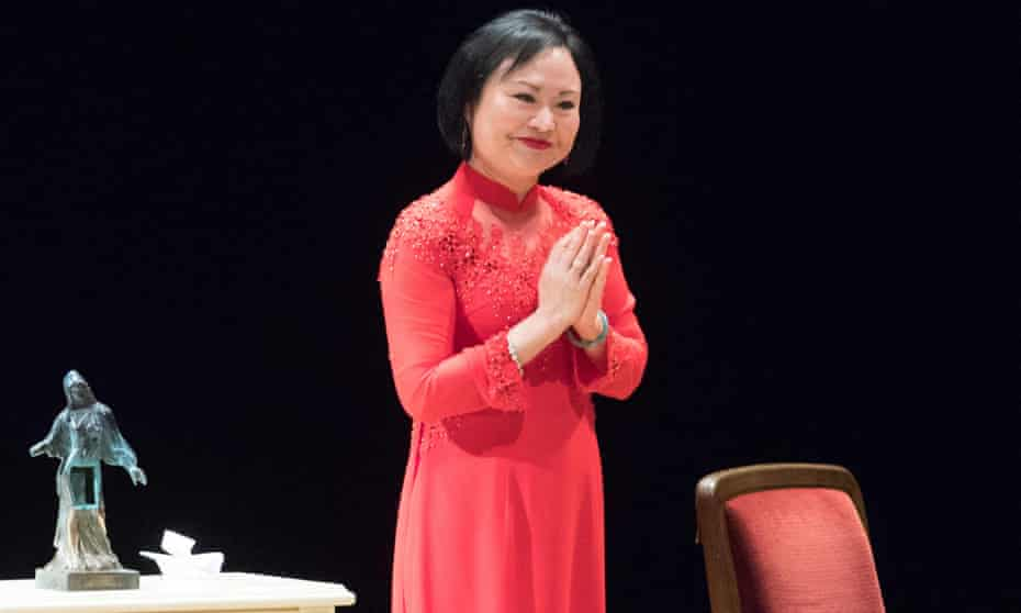 Kim Phuc Phan Thi, speaks after receiving the International peace prize at the Semperoper in Dresden, Germany.