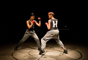 'When one norm shifts, so do all the others': Leah Harvey (The Douglas) and Jade Anouka (Hotspur) in Henry IV at the Donmar at King's Cross, 2016.