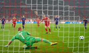 Robert Lewandowski scores from the penalty spot for Bayern Munich against Anderlecht on Tuesday. Is the disparity between the teams partly responsible for so many spot-kicks?
