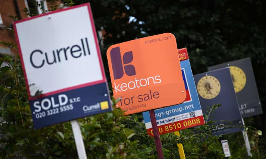 row of estate agents' boards