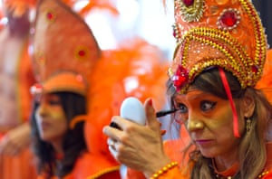 Performers from the London School of Samba prepare ahead of The Notting Hill Carnival