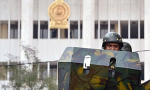 Sri Lankan troops near the supreme court in Colombo on Thursday.