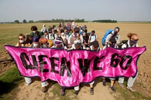 Elsdorf, Germany Protesters walk near open-pit coal mines in the Rhineland region west of Cologne