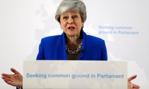 Prime Minister Theresa May delivers a speech detailing a new Brexit deal on May 21, 2019 in London