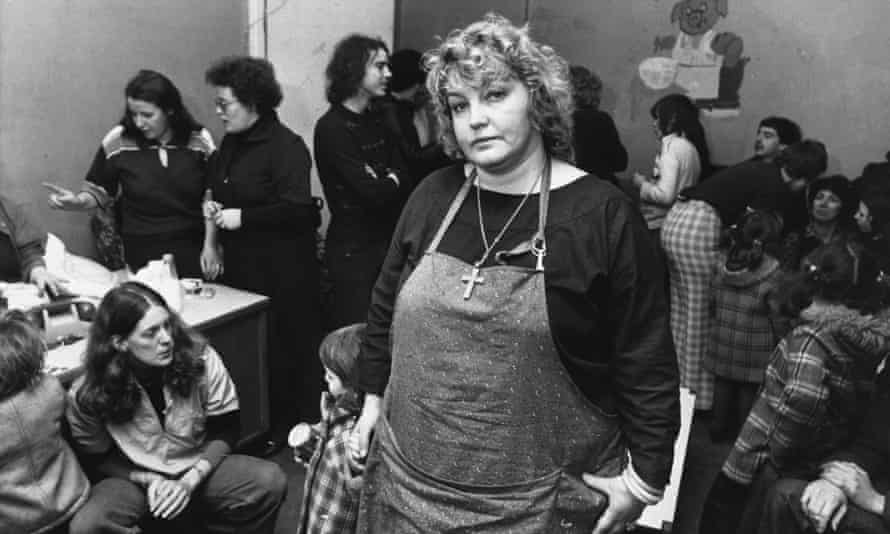 Erin Pizzey in a home for battered wives, 1978.