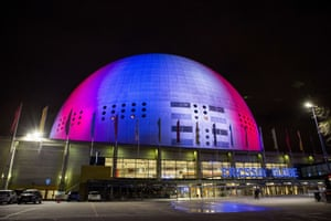 In Stockholm, the Ericsson Globe arena is also illuminated in the French national colours.