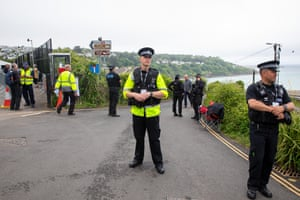 Police secure the area close to the leaders' hotel at Carbis Bay