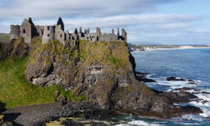 View of Dunluce Castle with sea and rocks