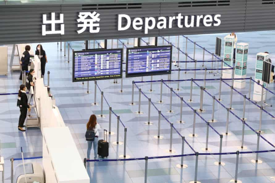 A departure gate is almost empty at Haneda airport in Tokyo.