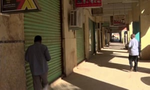 An image taken from television footage shows closed shops in Khartoum, Sudan, on 29 November 2016, the third day of a general strike against fuel subsidy cuts and price hikes.