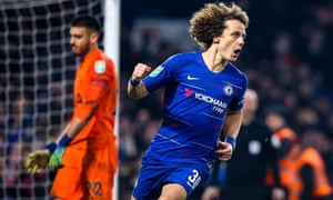 David Luiz celebrates scoring the winning penalty against Spurs to book Chelsea's place in the Carabao Cup final.