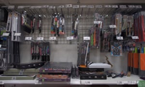 Kitchen knives for sale in an Asda store in London