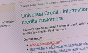 HMRC web page for universal credit