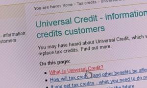 A universal credit web-page. R