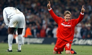 Juninho celebrates winning the League Cup final with Middlesbrough in 2004.
