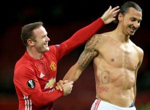 Wayne Rooney, left, celebrates with goalscorer Zlatan Ibrahimovic after the final whistle.