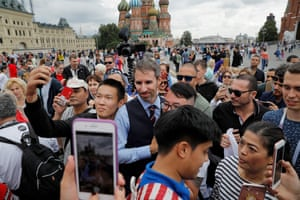 Over in Red Square, Neil Rowe, a Gareth Southgate look-a-like, is proving popular with the tourists.