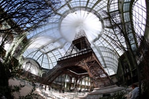 Chanel's recreation of the Eiffel Tower at the Grand Palais.