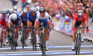 A sprint finish at last year's championships. won by Peter Sagan (white top).