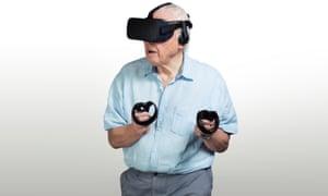 Sir David Attenborough wearing a Sky VR headset.
