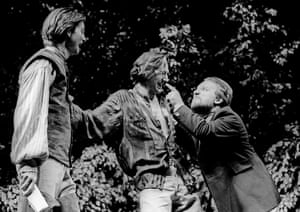 Bernard Wright as Longaville, Ralph Fiennes as Berowne and Simon Russell Beale as King of Navarre in the RSC's Love's Labour's Lost by Shakespeare at the Barbican theatre, London, in 1990. Directed by Terry Hands and designed by Timothy O'Brien.