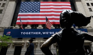 US flag hangs on the front of the New York stock exchange