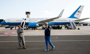 John Kerry at Ramstein air base in Germany