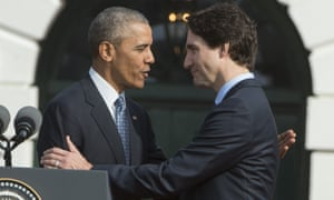 Barack Obama welcomes Justin Trudeau at a White House visit in March 2016 during which the two leaders agreed to expand the Tuscan border database, but made no public mention of it by name.