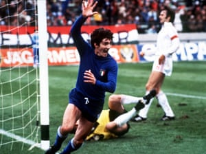 Paolo Rossi celebrates his goal v Hungary in the 1978 World Cup.